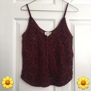 La Hearts Tops - (SOLD!) LA Hearts crochet button tank